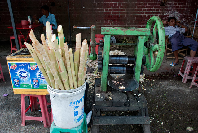 Sugar Cane Juice Stand, Yangon, Myanmar