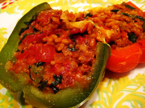 stuffed peppers with chorizo, rice, and spinach