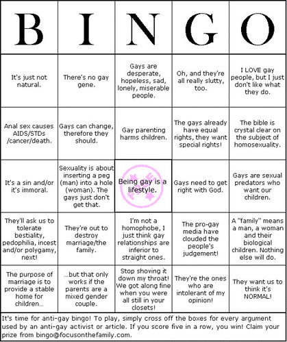 Anti-Gay Bingo