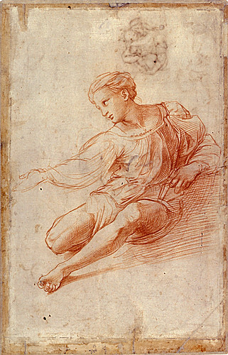 1511  Raphael    Study for the Alba Madonna, verso  Red Chalk 42,2x27,3 cm  Lille, Musée des Beaux-Arts