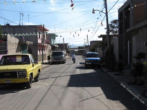 La calle Aldama en Iramuco, Gto