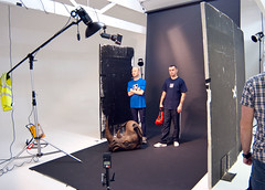 Opener Setup Shot (Photosmudger) Tags: lighting magazine studio print lights published marathon flash tripod rhino boxer setup fitness runner behindthescenes strobe bowens alienbees strobist polyboards nikond700