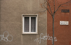 Bagolyvár utca (sonofsteppe) Tags: street old city winter urban house detail building tree art window sign wall table grey daylight stem mural hungary branch exterior outdoor bare curtain budapest tan rusty plate nobody explore simplicity series 60mm simple exploration thewall streetname fathom bough ilmuro bisected streetplate bole scribbled wallscape sonofsteppe pusztafia zugló utcatábla streetplatesofbudapest nagyzugló bagolyvárutca urbanlifeoftrees
