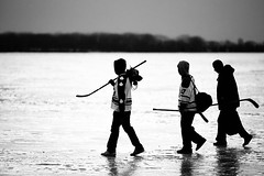 Game Over (Mute*) Tags: winter bw lake toronto ontario cold ice hockey sticks canonef200mmf28liiusm