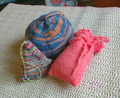 Three handknit knitted lavender sachets