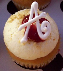 Cheesecake Mini with Initial (cupcakeology) Tags: cupcakes monogram albuquerque cheesecake cupcake initial cupcakeology