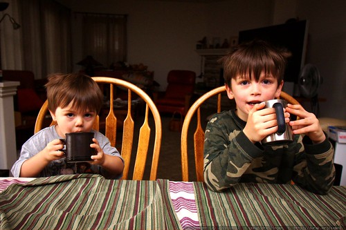 brothers having hot chocolate for breakfast - _MG_1520