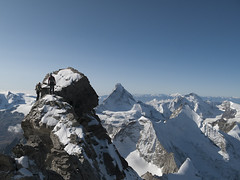 Dan and Janine Patitucci climbing on the Zinalrothorn south east ridge (cresta est) - Alpinism in the Swiss Alps