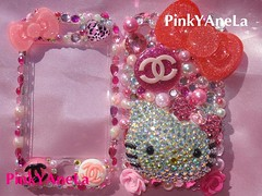 ★My New Hello Kitty Deco iPhone Cover Made By Me~!★ (Pinky Anela) Tags: pink rose japan japanese tokyo hellokitty sanrio kawaii bling deco chanel iphone