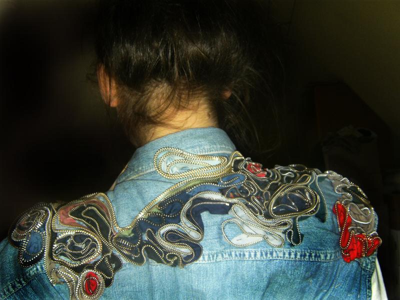 Lara Natascha DIY zipper denim shirt