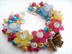 004 (kim smith charm bracelets) Tags: uk flowers red glass fashion butterfly garden day handmade turquoise jewelry charm pearls jewellery bracelet pearl seller beaded summery