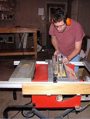 Kenny using the table saw