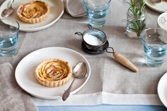 White Peach Tartelettes With Rosemary Sugar