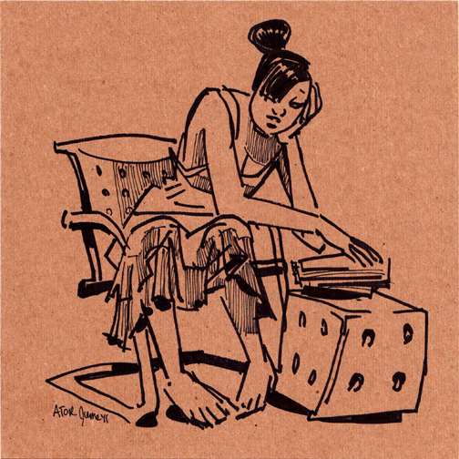 r8r, Figure 1050. Sharpie life drawing on found cardboard. Model Reading Bible, 4 of 4, 1. Juni 2011