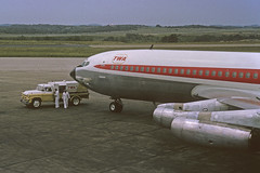 TWA B707 at Pittsburgh, August 1963 (SPZahn) Tags: boeing 707 twa airliner jetliner boeing707 transworldairlines