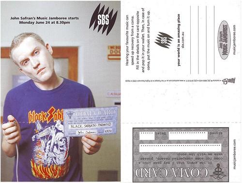 John Safran's Music Jamboree promo postcard