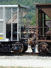 CSX workman is setting the brakes on a hopper car in the railroad yard at Erwin, Tennessee, July 2008 (alcomike43) Tags: railroad yard train erwin csx freighttrain brakewheel hoppercar clinchfield unitcoaltrain railroademployee erwintennessee aluminumhopper railroadworkman brakepole