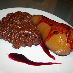 Poached Pear with Chocolate Risotto