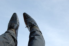 i will teach you how to fly (jamespayden) Tags: blue sky feet sunshine fashion flying shoes shiny pointy style happyness
