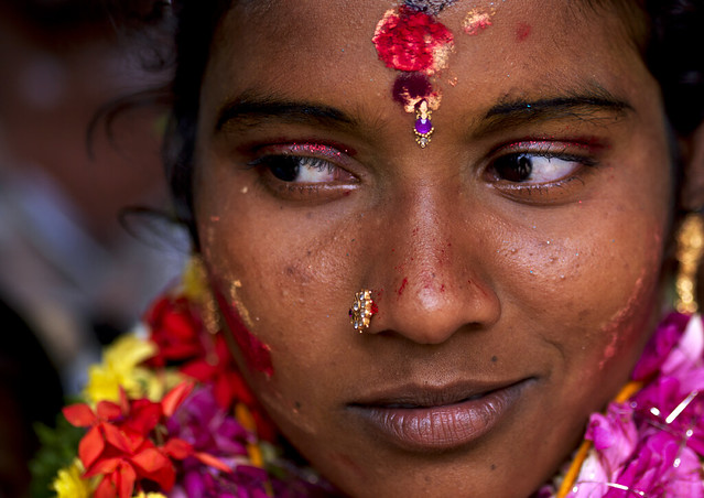 Bride just after having been married - India