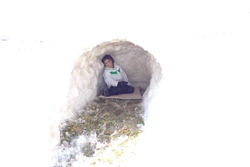 Cody in the igloo