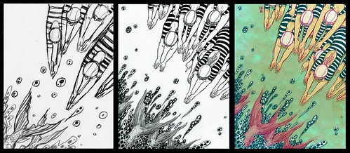 Behind (sketch, drawing and final) - Yuko Shimizu