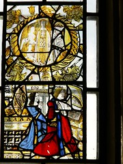 Detail medieval stained glass panels - Stanford-on-Avon