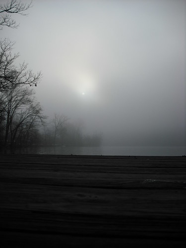 Sun trying to peek through the morning fog