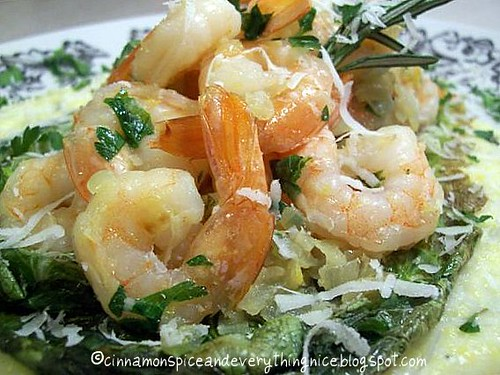 Lemon-Garlic Shrimp w/ Parmesan Polenta & Grilled Romaine