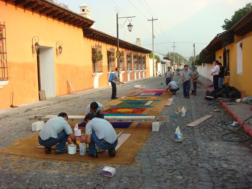 "Preparing the ""alfombras"" (flower carpets) for the Semana Santa (Easter Holiday) in Antigua, Guatemala."
