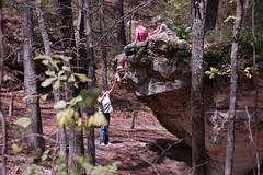Idiots climbing the rock