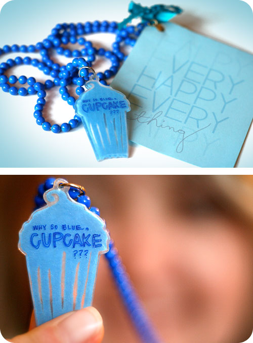 Blue Cupcake Necklace