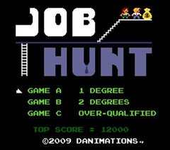 Pixel art: 'Job Hunt' fake NES game title screen (danimations) Tags: original game art illustration fun bright employment joke nintendo cartoon humour retro pixel videogame nes colourful mariobros 1980s arcadegame duckhunt mariobrothers jobhunt nonexisting fakegame