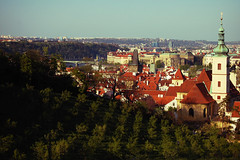 Orchard and beautiful old Prague! (Adam Maran) Tags: bridge sky sun river spring prague orchard roofs vltava sunshide