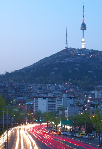 Namsan with Cherry Blossoms