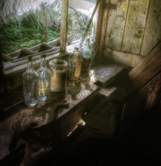 Four bottles and a Jar of Grease (Johan Runegrund) Tags: wood old forest nikon fat oil tranquil hdr johan wrench lightrays tranquillity spanner d40 wispers johanrunegrund runegrund