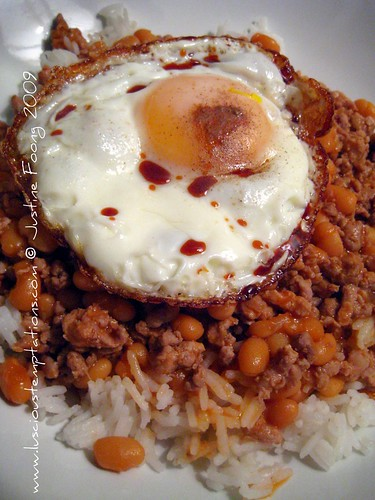 Mince and Beans with a Fried Egg on Steamed Rice