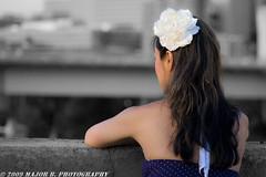APG - Anita - Waiting for his return (BlazinBajan) Tags: street bridge atlanta woman flower beautiful hair model pretty dress gorgeous polkadots bow anita mbp apg selectivecoloring atlantaphotographersguild majorbphotography apg051209