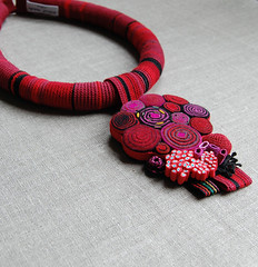 Huge red necklace (ELINtm) Tags: red handmade crochet felt crocheted