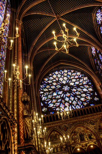 Sainte Chapelle. Rosetón de la capilla superior. Upper chapel rose window.
