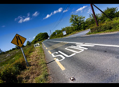 Back on the Road - See you in a week! (edmundlwk) Tags: road ireland signs galway slow connemara lane bb converge letterfrack connemaraloop canon450d flickrchallengegroup flickrchallengewinner rebelxsi tokina1116mm edmundlim