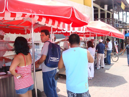 This is a collection of street food vendors in Play del Carmen, Mexico.  They arent giving out FREE food today, but I had this pic so I figured Id use it.