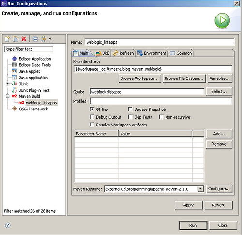 An Eclipse Run Configuration for the weblogic:listapps goal.