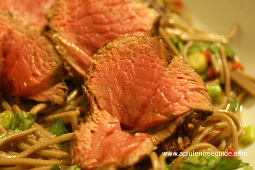 Gluten Free Soba Noodles with Lamb and Sweet Soy Marinade