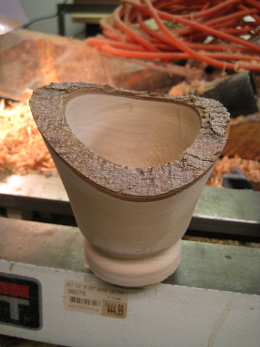 natural edge pedestal bowl rough