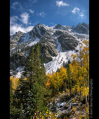 Lundy Canyon Fall (kh-photos ~ Kurt ~) Tags: california blue autumn sky cloud snow mountains tree fall forest golden glory rocky peak evergreen aspen lundy hdr wispy crag monocounty explore14aug2008 lundycanyonfall