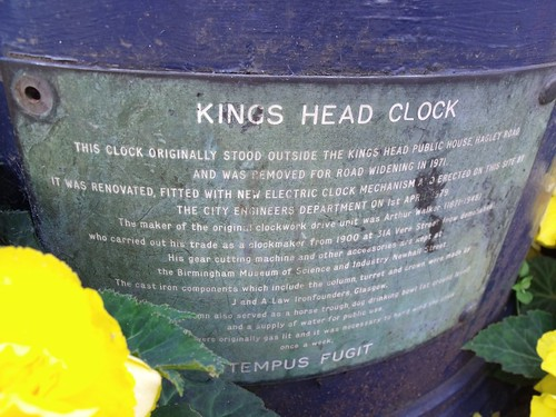 Kings Head Clock, High Street, Birmingham - plaque