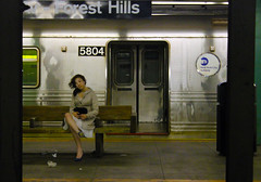 Subway Model (Venessa Nina) Tags: nyc newyorkcity woman beautiful station forest train subway pretty platform hills queens