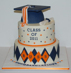 Graduation Cake (cjmjcrlm (Rebecca)) Tags: orange white cake diploma navy graduation tassel fondant buttercream graduationcap
