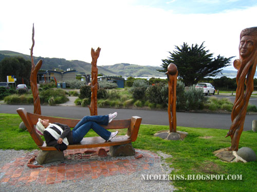 lying on bench in apollo bay